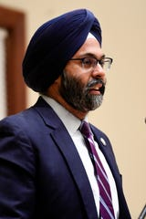 New Jersey Attorney General Gurbir Grewal speaks at the Ridgewood Public Library on Monday, Nov. 18, 2019. The talk was co-sponsored by the League of Women Voters.