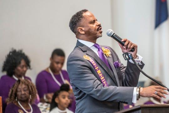 The Rev. David Ellington Sr. speaks as Old Elam Baptist Church in Montgomery celebrates its 200th anniversary on Sunday, Nov. 17, 2019.