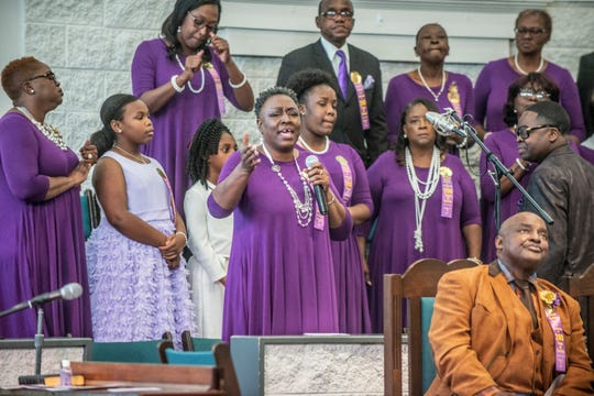The Old Elam Mass Choir performs as Old Elam Baptist Church in Montgomery celebrates its 200th anniversary on Sunday, Nov. 17, 2019.