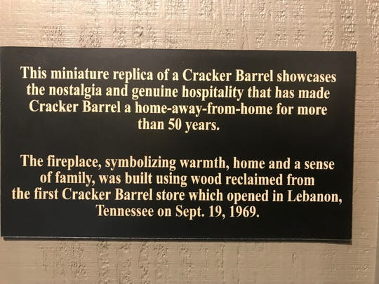 A plaque inside a downsized Cracker Barrel old Country Story that will be used for road trips and events.
