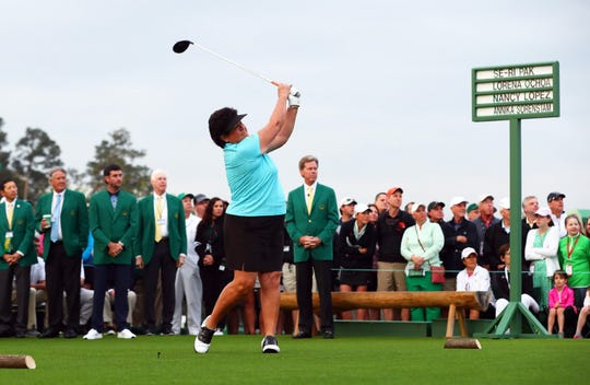 Honorary starter Nancy Lopez participates in the first tee ceremony to begin the final round of the Augusta National Women's Amateur golf tournament at Augusta National GC.  Lopez was in Naples on Monday night for a fundraiser for Swinging With Purpose, a Naples-based charity.