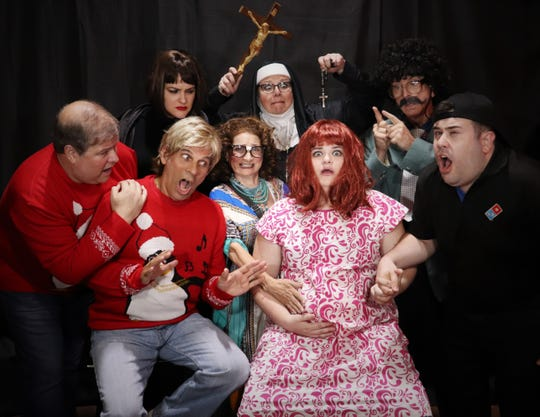 """The cast of """"Let Nothing You Dismay"""" from left to right: Todd Lyman, Scott Davis, Kristen Wilsson, Amanda Collins, David Cooley, Danielle Channel, Holly Zammerila and Kenneth Johnson."""