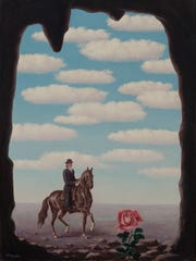 """La Tour d'Ivoire (The Ivory Tower),"" Rene Magritte; 1945 oil on canvas 31 1/2 by 23 3/4 inches © 2019 C. Herscovici / Artists Rights Society (ARS), New York"