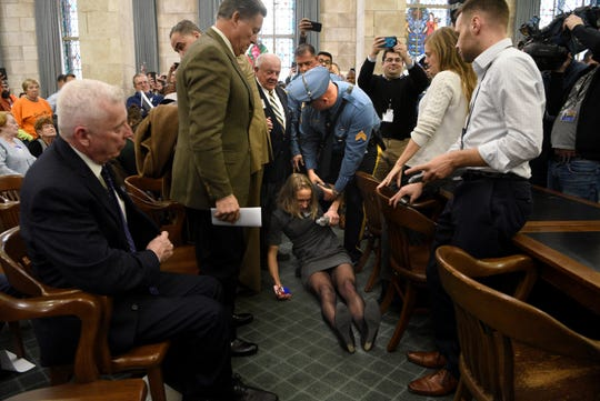 Camden resident Sue Altman, is removed by New Jersey State Police from the New Jersey Senate select committee on Economic Growth Strategies in Trenton on November 18, 2019.