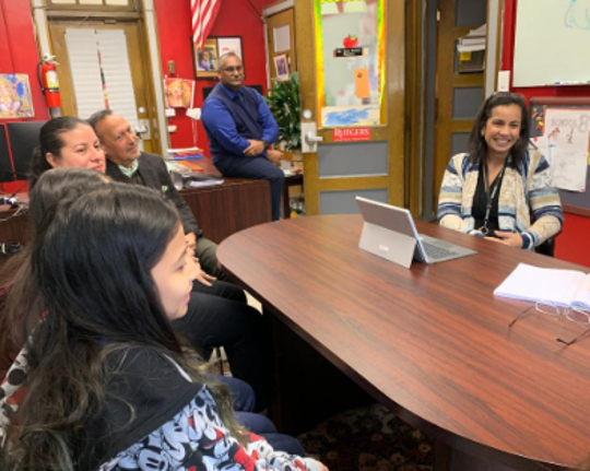 Faculty on the School 8 Samsung team are, from right to left Martha Crurz, Principal Sham Bacchus, Anibal Cintron and Ivette Soto. Students are in the foreground.
