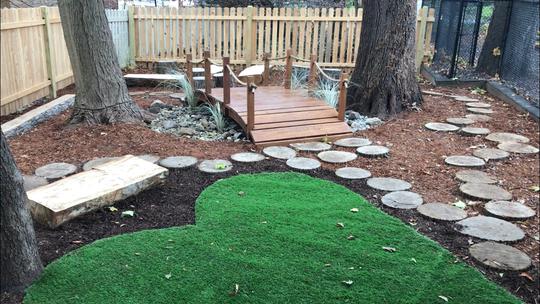 An outdoor classroom at a Ridgewood preschool opened Monday, November 18.