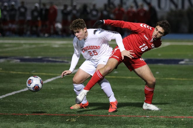 Bound Brook's Anthony Ibarra and Grantham Ghaemi of Glen Ridge vie for the ball during their Group I final on Sunday, Nov. 17, 2019.