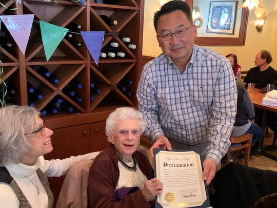 Mayor of Palisades Park Christopher Chung stopped by to celebrate one of the town's oldest residents.