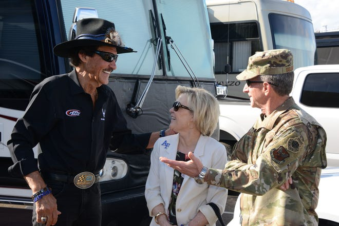 Richard Petty of Richard Petty Motorsports meets with Gen. David L. Goldfein, Air Force chief of staff and his wife Dawn Goldfein prior to the race.