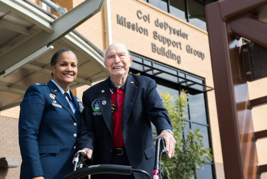 Retired Col. Steven L. dePyssler (right), director of military retiree affairs for Barksdale, poses for a photo with Col. Sara Ann Custer (left), 2nd Mission Support Group commander, following a building dedication ceremony at Barksdale Air Force Base, La., Nov. 8, 2019. The renaming of the newly established dePyssler Mission Support Group building was announced back in July 2019 after dePyssler celebrated his 100th birthday.