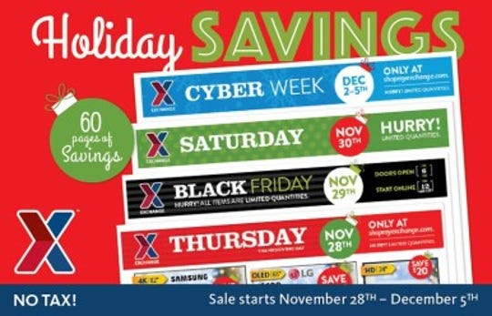 """From Nov. 28 through Dec. 5, Exchange shoppers can feast on a bounty of savings. All of the Thanksgiving weekend and Cyber Week deals can be seen starting Nov. 20 at ShopMyExchange.com by clicking """"Weekly Ad."""""""