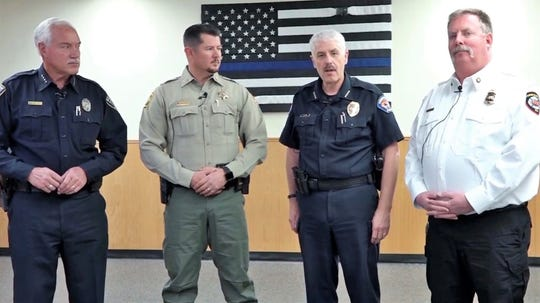 Aztec Police Chief Mike Heal, San Juan County Sheriff Shane Ferrari, Farmington Police Chief Steve Hebbe and Farmington Fire Chief David Burke appear in a video promoting The Guardians of the Good Fund.
