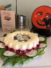 """Jellied cheese and beet salad, a recipe from 1943, was tried in October by Birmingham Museum assistants for an episode of """"What Were They Thinking?"""""""