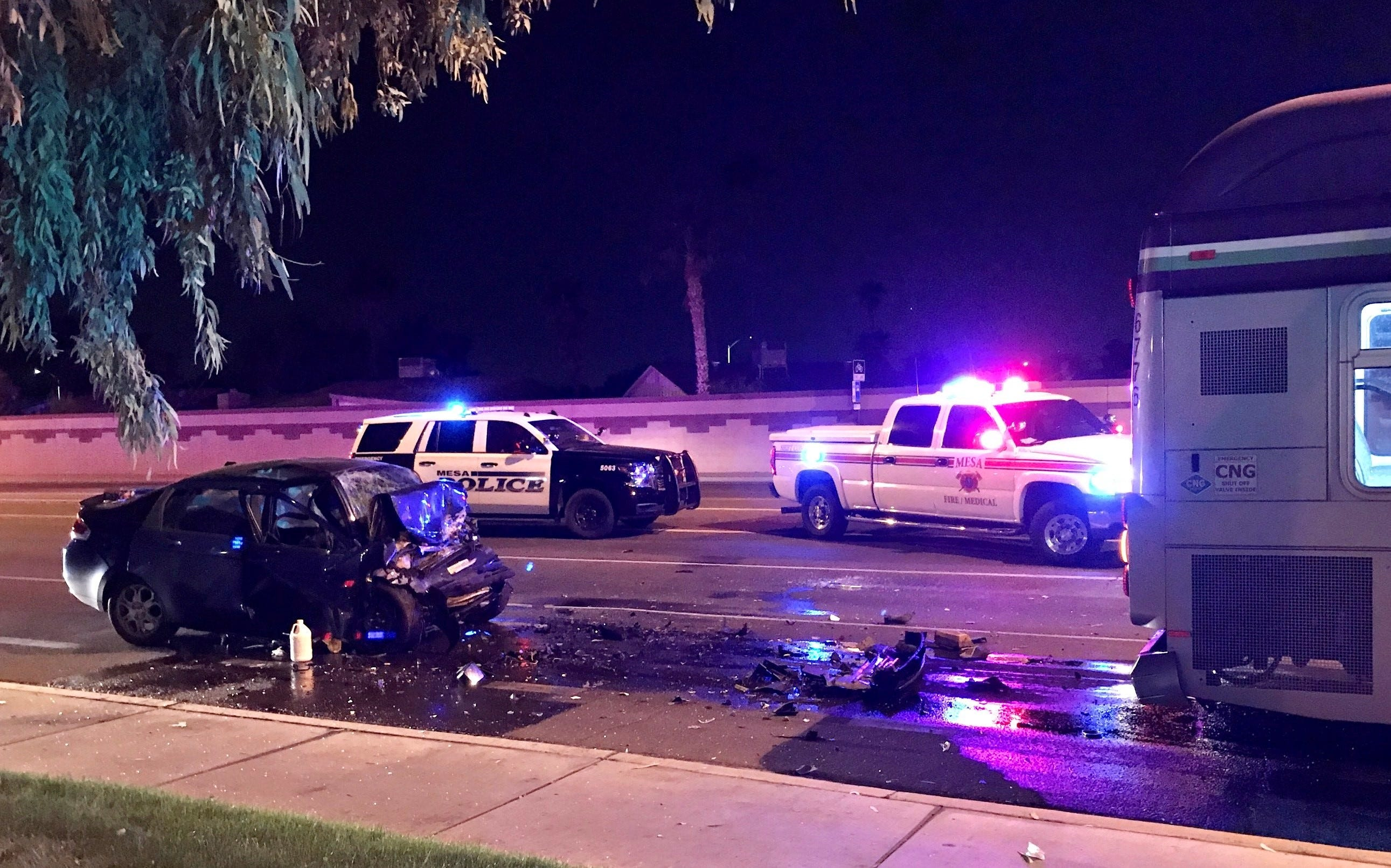 Driver is dead after crashing vehicle into Valley Metro bus in Mesa