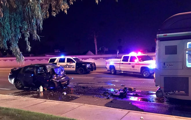 Man dead after his car rear-ended a city bus in Mesa on Nov. 17, 2019.