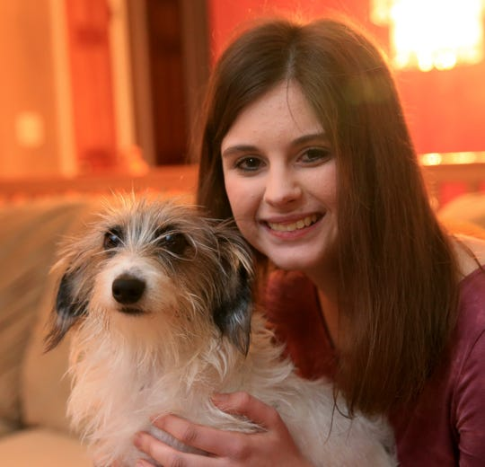 Rebecca Berak with her dog, Willow at her home in the Town of Poughkeepsie on November 14, 2019. Rebecca credits her dog in having saved her life. She was home sick and the dog would not leave her side. It ended up that Rebecca was running a fever of 106 degrees.