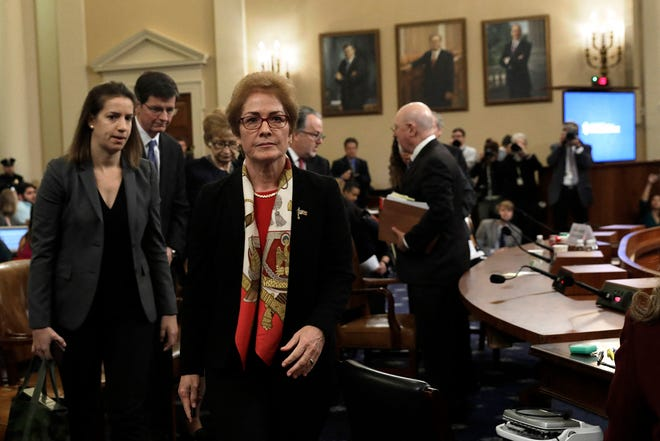 Former U.S. ambassador to Ukraine Marie Yovanovitch leaves during a break at a House Intelligence Committee impeachment hearing of President Donald Trump on Capitol Hill in Washington on November 15, 2019. (Yuri Gripas/ABACAPRESS.COM/TNS)