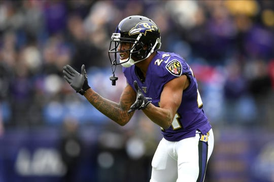 The addition of cornerback Marcus Peters has been key for the Baltimore Ravens during their recent winning streak.  (AP Photo/Nick Wass)