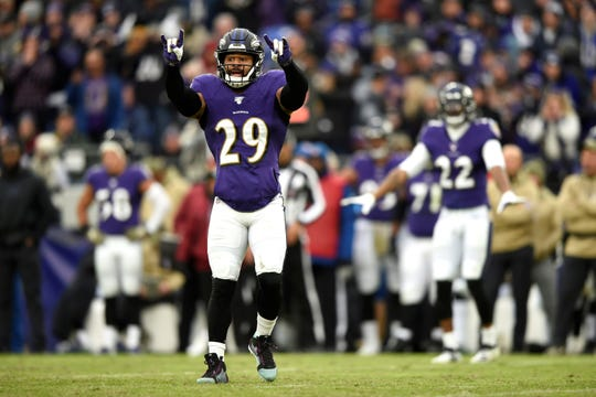Baltimore Ravens free safety Earl Thomas gestures before a play against the Houston Texans during the second half of an NFL football game, Sunday, Nov. 17, 2019, in Baltimore. (AP Photo/Gail Burton)