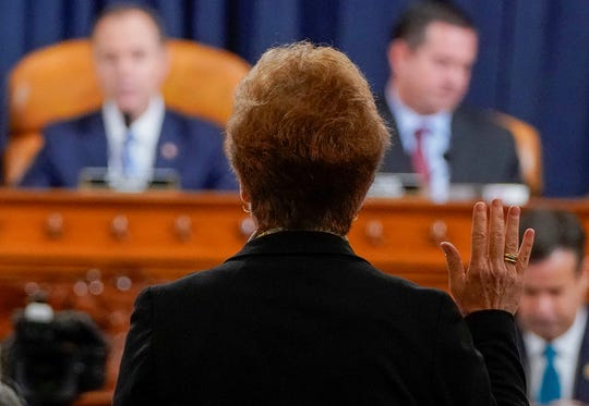 Marie Yovanovitch, former U.S. ambassador to Ukraine, is sworn in before a House Intelligence Committee hearing as part of the impeachment inquiry into U.S. President Donald Trump on Capitol Hill in Washington, U.S., November 15, 2019. (Joshua Roberts/REUTERS/Pool/Abaca Press/TNS)