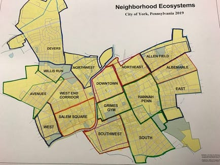 The boundaries that mark the new Community Ecosystem Initiative. The program was unveiled by the city's Community and Economic Development Department in July. The initiative aims to help streamline resource availability and access specific needs for each neighborhood.