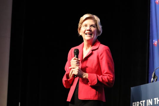 Massachusetts Senator Elizabeth Warren campaigns in front of Nevada Democrats in Las Vegas, calling for a stop to corporate corruption.