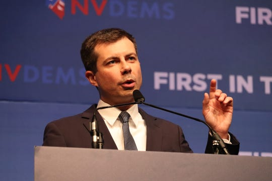 South Bend Mayor Pete Buttigieg campaigns in front of Nevada Democrats on the Las Vegas Strip.