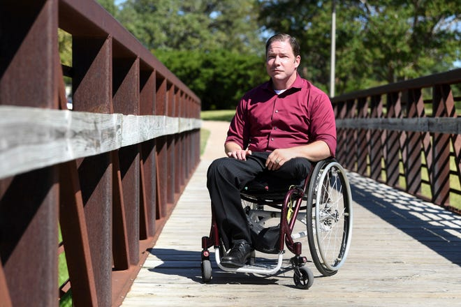 John Comstock, a survivor of the 1999 Aggie Bonfire collapse, is pictured Oct. 23, 2019 at Aggie Park on the Texas A&M University campus in College Station, Texas.