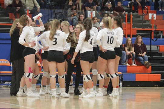 Water Valley High School head coach Brenda Greebon (center) talks things over with her team during a timeout in the Region I-1A volleyball championship match Saturday, Nov. 16, 2019, at San Angelo Central.