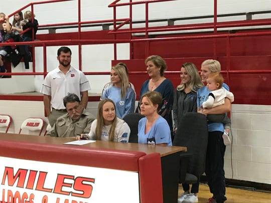 Miles High School senior Skyler Brooks signed a letter-of-intent to play softball at the University of North Carolina on Monday, Nov. 18, 2019.