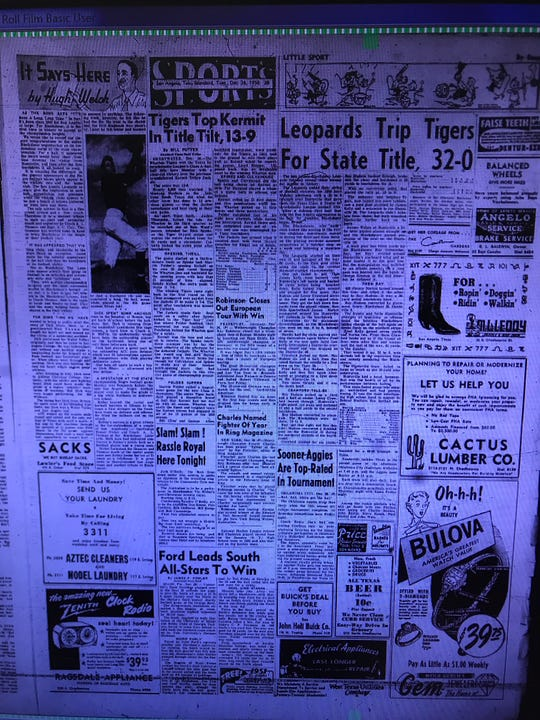 This was the San Angelo Standard-Times sports front on Dec. 26, 1950, following the Blackshear Leopards' 32-0 win over Huntsville Sam Houston in the state championship game on Christmas Day at Old Bobcat Stadium.