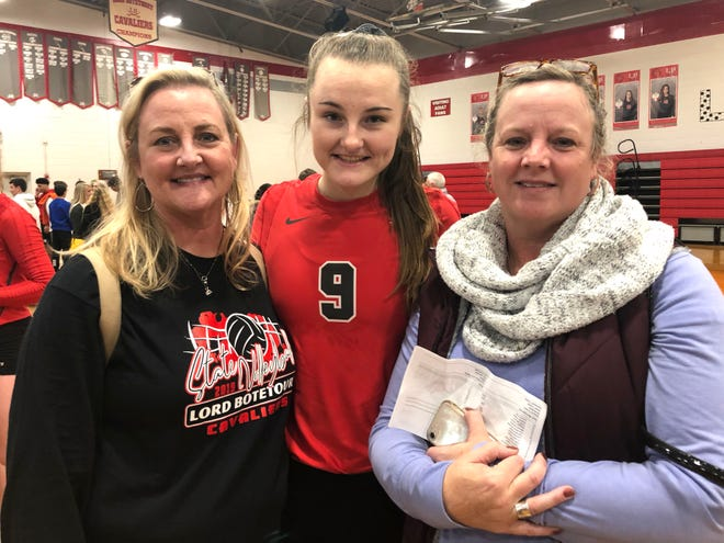 (Left to right) Gretchen Foster Robertson,  Taylor Robertson and Molly Stinespring following Lord Botetourt's win over Fort Defiance. Taylor is a Lord Botetourt senior, and Gretchen, a former Lee High volleyball player, is her mom. Molly, who played and coached at Lee, is Taylor's aunt.