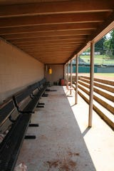 One of the dugouts of the Bristol Pirates, a minor league baseball team in Bristol, VA.