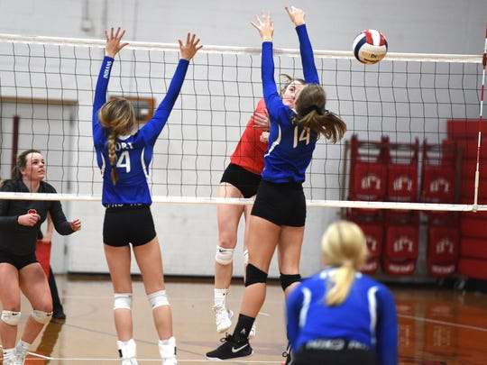 Lord Botetourt's Taylor Robertson hits the ball past Fort Defiance blockers Saturday in the state quarterfinals.