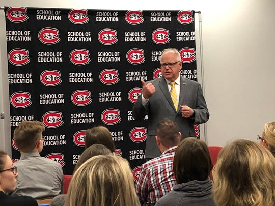Gov. Tim Walz speaks with SCSU students Monday, Nov. 18, 2019, about the state of education at the start of a week-long education tour.