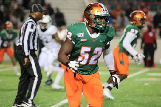 FAMU linebacker Derrick Mayweather had four tackles in the 39-7 win versus Howard on Nov. 16, 2019.