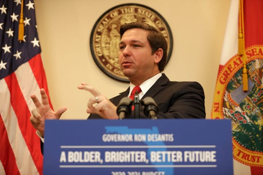 Gov. Ron DeSantis shares the 2020-2021 Budget during a press conference on Monday, Nov. 18, 2019.