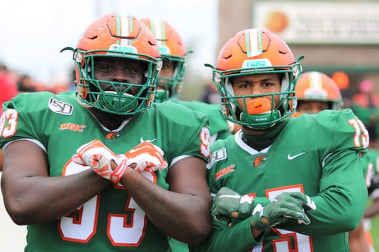 FAMU defensive lineman De'Montre Moore (left) and linebacker Elijah Richardson capped off their careers at Bragg Memorial Stadium on Saturday, Nov. 16, 2019.