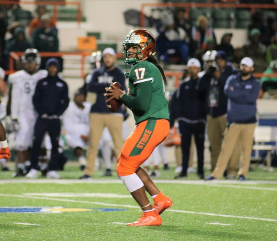 FAMU quarterback RaSean McKay looks to complete a pass against Howard on Nov. 16, 2019.