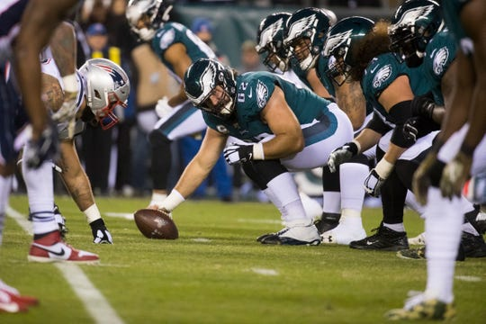 Eagles' Jason Kelce (62) prepares to snap the ball during a November game vs. New England.