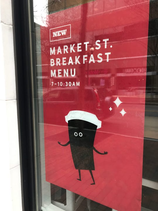A sign at the new El Diablo Burritos touts its breakfast menu. Right now, the Wilmington site on Market Street is the only eatery in the chain serving breakfast.
