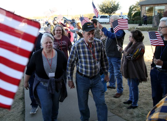 Veterans and their spouses attend a Veteran Freedom Retreat Sunday, Nov. 18, 2019, at Coyote Ranch Resort. The couples retreat is to help veterans suffering from post-traumatic stress disorder with experiential education, counseling, equine therapy, and other stress reduction activities.