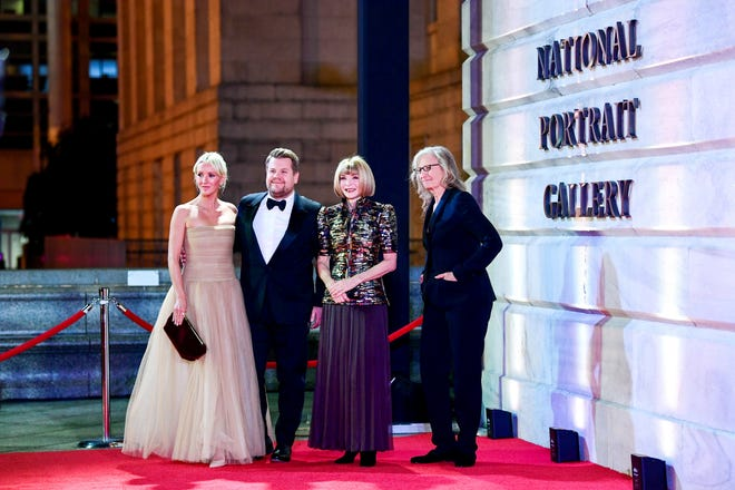 Julia Carey, James Corden, Anna Winter and Annie Leibovitz attend The 2019 American Portrait Gala at Smithsonian's National Portrait Gallery on Sunday, Nov 17, 2019, in Washington.