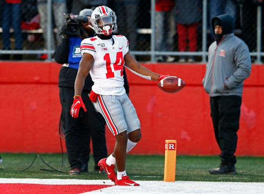 Ohio State wide receiver K.J. Hill reacts after scoring a touchdown during the first half against Rutgers at SHI Stadium.