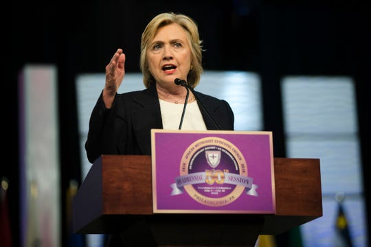Former Secretary of State Hillary Clinton speaks at the African Methodist Episcopal church national convention in Philadelphia, Friday, July 8, 2016. (AP Photo/Matt Rourke) ORG XMIT: PAMR101