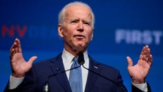 """Democratic presidential hopeful former Vice President Joe Biden speaks on stage at """"First in the West"""" event in Las Vegas, Nevada on November 17, 2019. (Photo by Bridget BENNETT / 30240120A / AFP) (Photo by BRIDGET BENNETT/30240120A/AFP via Getty Images) ORIG FILE ID: AFP_1MC9E2"""