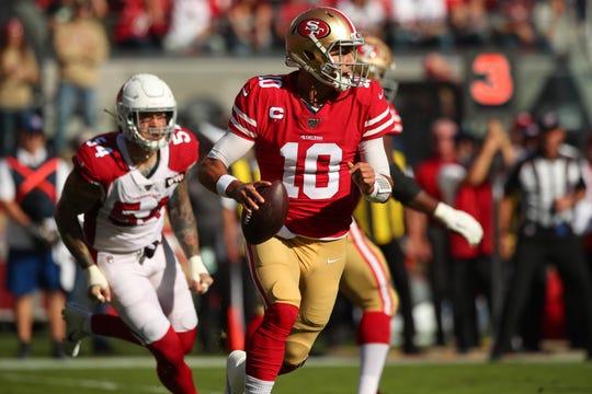 Niners quarterback Jimmy Garoppolo threw for a career-high 424 yards in Week 11.