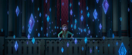 "Anna (voiced by Kristen Bell) worries about Arendelle when mysterious elemental symbols start appearing in ""Frozen 2."""