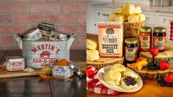 The Tennessean / Reviewed 2019 gift guide: Martin's Bar-B-Que Joint Spice Bucket, The Loveless Cafe Jammin Biscuits, and Goo Goo Cluster Goo Goo Gift Tin