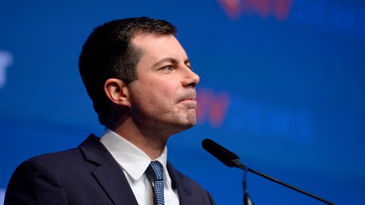 """Democratic presidential hopeful Mayor of South Bend, Indiana, Pete Buttigieg speaks on stage at """"First in the West"""" event in Las Vegas, Nov. 18, 2019."""